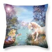 Unicorns Lake Throw Pillow