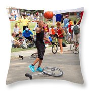 Unicyclist - Basketball - Street Rules  Throw Pillow