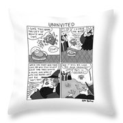 Uninvited -- A 4-panel Cartoon Of A Sleeping Throw Pillow