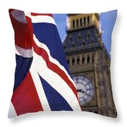 Union Flag And Big Ben Throw Pillow