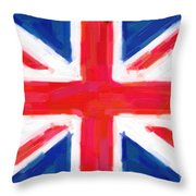 Union Jack Flag Painting Throw Pillow