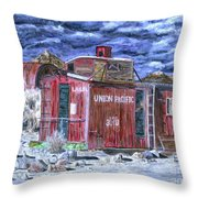 Union Pacific Train Car Painting Throw Pillow