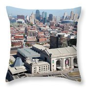 Union Station And Downtown Kansas City Throw Pillow
