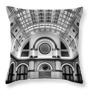 Union Station Lobby Black And White Throw Pillow