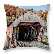 Union Village Covered Bridge Thetford Vermont Throw Pillow