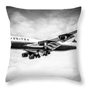 United Airlines Boeing 747 Airplane Black And White Throw Pillow