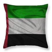 United Arab Emirates Flag Waving On Canvas Throw Pillow