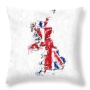 United Kingdom Painted Flag Map Throw Pillow