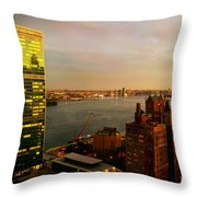 United Nations Building At Nightfall With Chrysler Building Reflection - Landmark Buildings  Throw Pillow