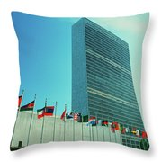 United Nations Building With Flags Throw Pillow