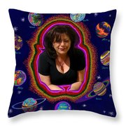 United Planets Of Mona Robin Throw Pillow