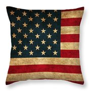 United States American Usa Flag Vintage Distressed Finish On Worn Canvas Throw Pillow by Design Turnpike