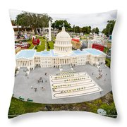 United States Capital Building At Legoland Throw Pillow by Edward Fielding