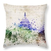 United States Capitol Throw Pillow by Aged Pixel