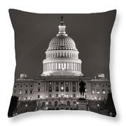 United States Capitol At Night Throw Pillow