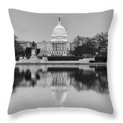 United States Capitol Building Bw Throw Pillow by Susan Candelario
