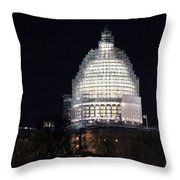 United States Capitol Dome Scaffolding At Night Throw Pillow