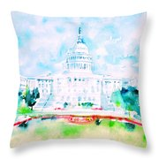 United States Capitol - Watercolor Portrait Throw Pillow
