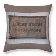 United States Courthouse Sign Throw Pillow