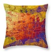 United States Flag Map Vintage 2 Throw Pillow