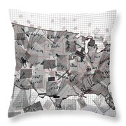 United States Map Collage 3 Throw Pillow