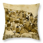 United States Map Collage 4 Throw Pillow