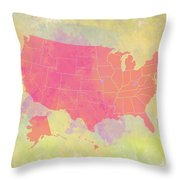 United States Map - Red And Watercolor Throw Pillow