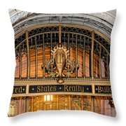 United States Realty Building Entrance Throw Pillow