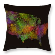 Unites States Watercolor Map Throw Pillow