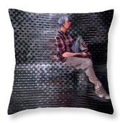 Universe Man Ties His Shoes Throw Pillow