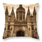 University Entrance Door Sepia Throw Pillow by Douglas Barnett