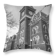 University Hall From Side Black And White  Throw Pillow