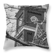 University Hall Tower Black And White  Throw Pillow