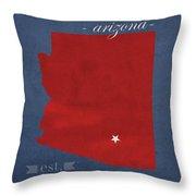 University Of Arizona Wildcats Tuscon Arizona College Town State Map Poster Series No 011 Throw Pillow