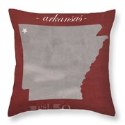 University Of Arkansas Razorbacks Fayetteville College Town State Map Poster Series No 013 Throw Pillow