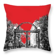 University Of Georgia - Georgia Arch - Red Throw Pillow