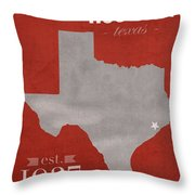 University Of Houston Cougars Texas College Town State Map Poster Series No 045 Throw Pillow