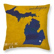 University Of Michigan Wolverines Ann Arbor College Town State Map Poster Series No 001 Throw Pillow