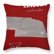 University Of Nebraska Lincoln Cornhuskers College Town State Map Poster Series No 071 Throw Pillow