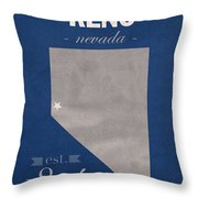 University Of Nevada Reno Wolfpack College Town State Map Poster Series No 072 Throw Pillow
