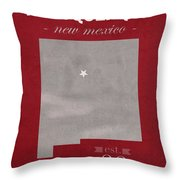 University Of New Mexico Albuquerque Lobos College Town State Map Poster Series No 074 Throw Pillow