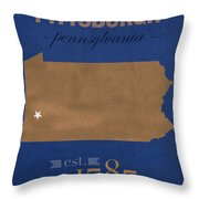 University Of Pittsburgh Pennsylvania Panthers College Town State Map Poster Series No 089 Throw Pillow