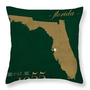 University Of South Florida Bulls Tampa Florida College Town State Map Poster Series No 101 Throw Pillow