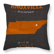 University Of Tennessee Volunteers Knoxville College Town State Map Poster Series No 104 Throw Pillow