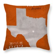 University Of Texas Longhorns Austin College Town State Map Poster Series No 105 Throw Pillow