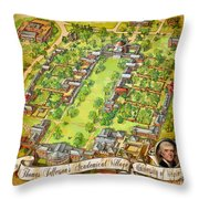 University Of Virginia Academical Village  With Scroll Throw Pillow
