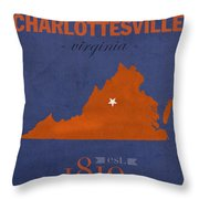 University Of Virginia Cavaliers Charlotteville College Town State Map Poster Series No 119 Throw Pillow
