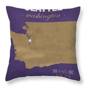 University Of Washington Huskies Seattle College Town State Map Poster Series No 122 Throw Pillow