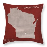 University Of Wisconsin Badgers Madison Wi College Town State Map Poster Series No 127 Throw Pillow