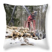 Unloading Firewood 5 Throw Pillow
